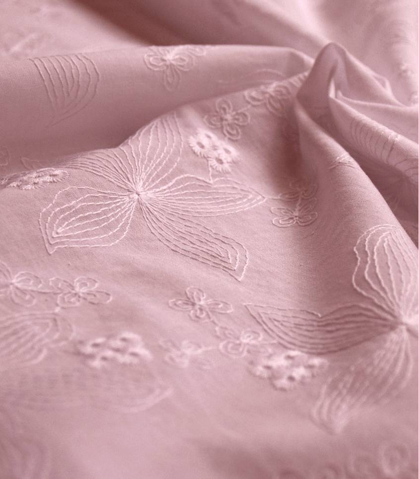 Broderie anglaise Clematite - rose poudré