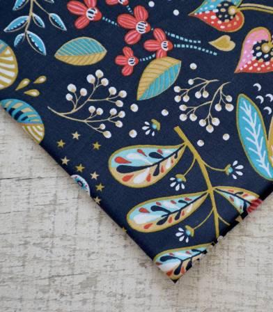 Tissu fleuri Ancolie - Bleu ardoise