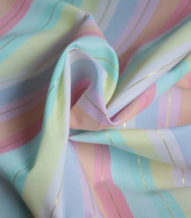 Tissu coton Rainbow rayée lurex
