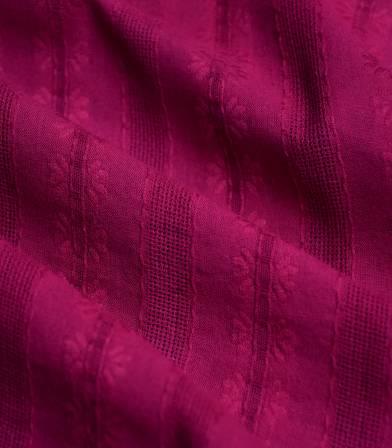 Tissu coton brodé rayures - Tavira rouge