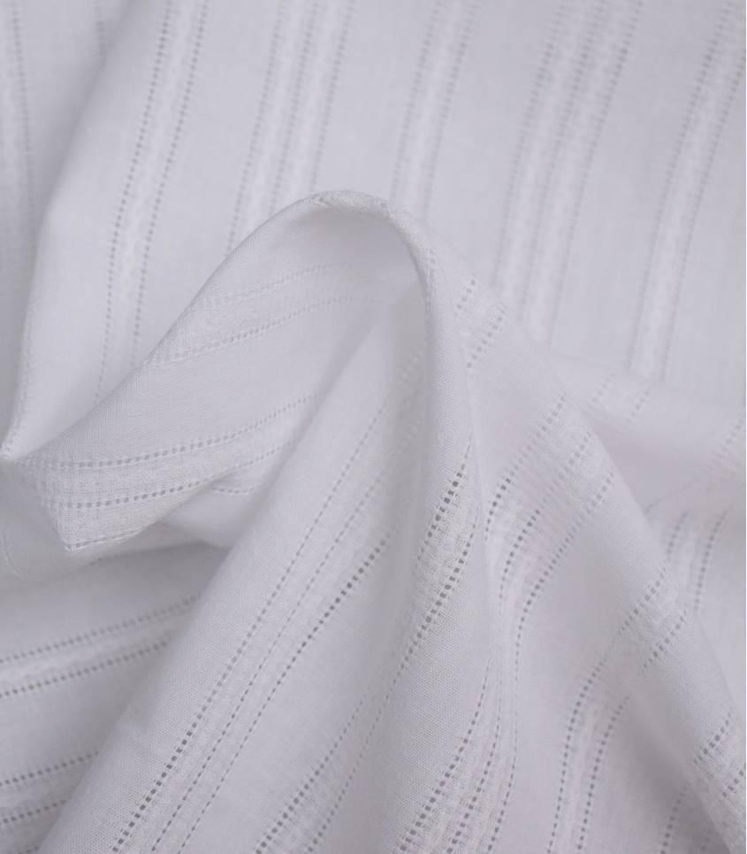 Tissu coton brodé rayures - Evora