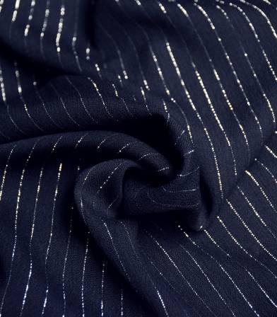 Tissu viscose crinkle rayure argent - Marine