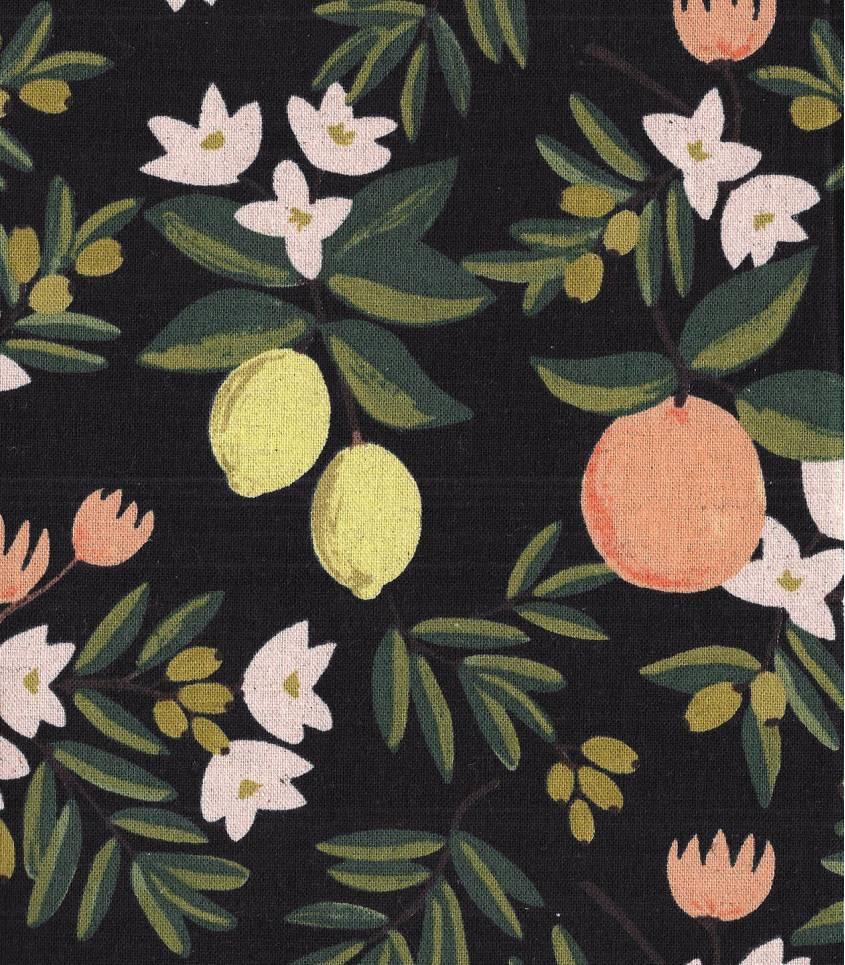 Tissu Canvas Primavera Citrus Floral - Black