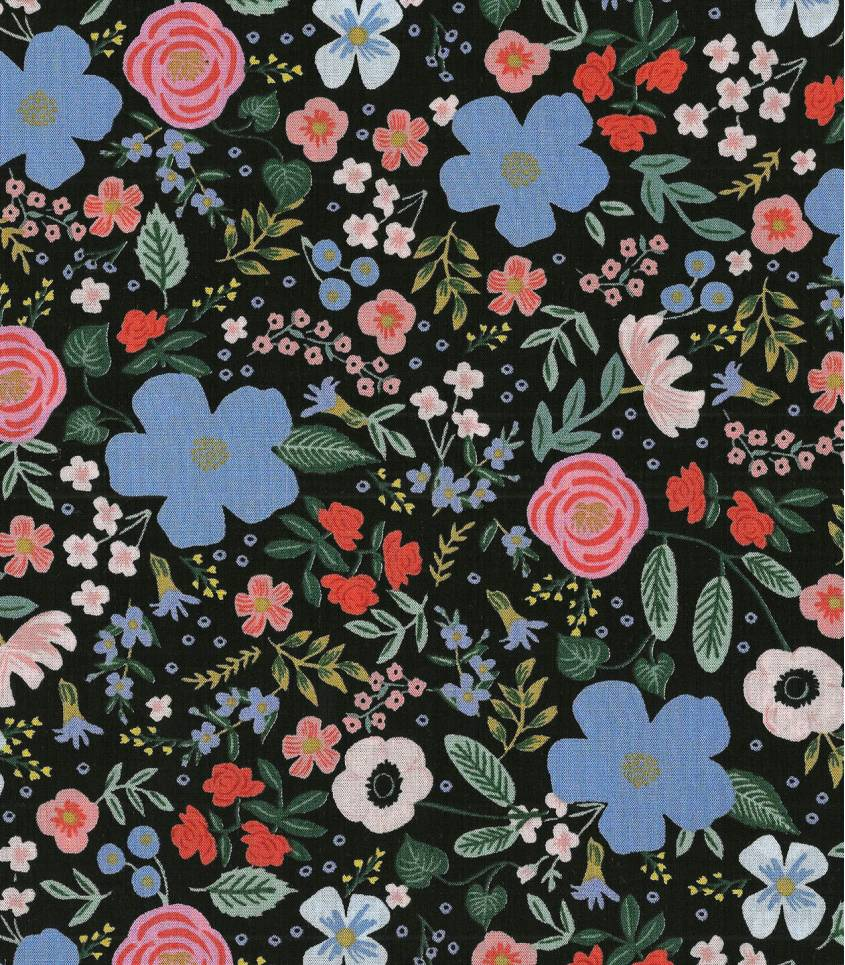Viscose Primavera - Wild rose - Black