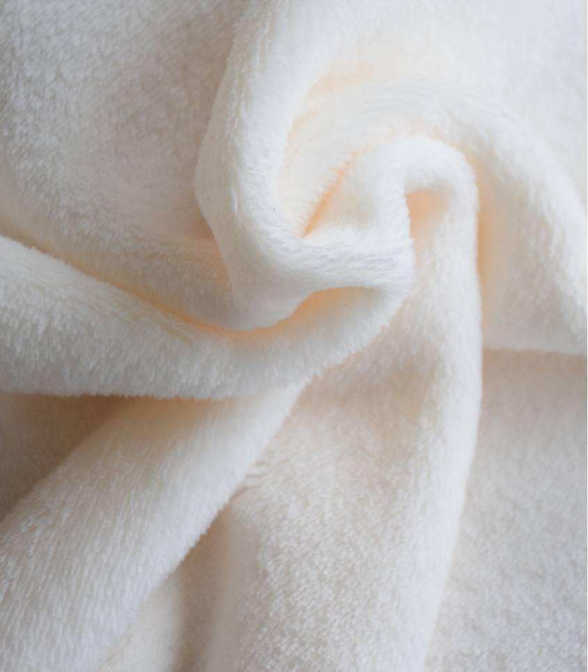 Tissu polaire doudou écru