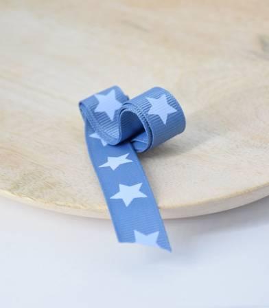 Ruban gros grain étoile bleu denim 15mm