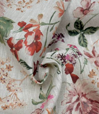 Tissu Lin Baroque Rouge