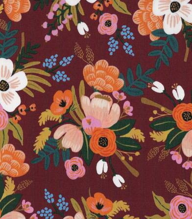 Viscose Lively Floral - Burgandy