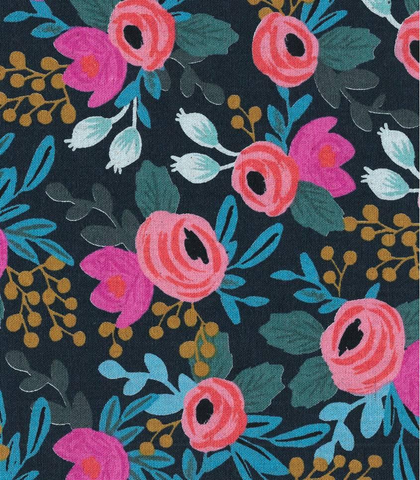 Tissu Canvas Rosa floral - navy