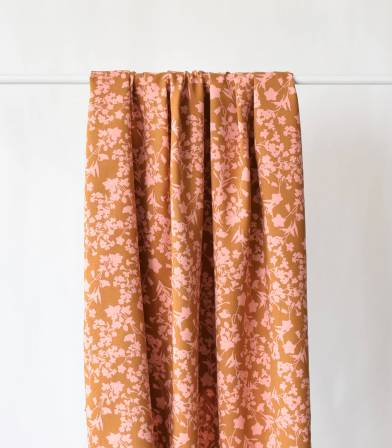 Tissu viscose Flower shadow - Ambre
