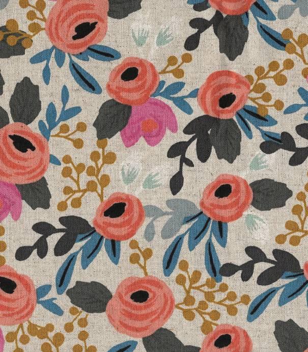 Tissu Canvas Rosa floral - natural