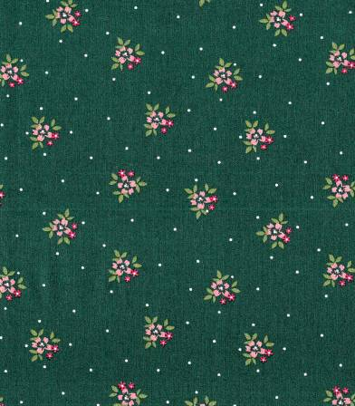 Popeline petites fleurs - Vert