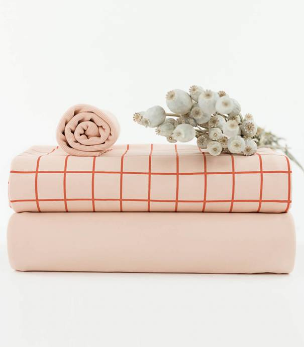 Tissu French terry Grid - Evening Pink