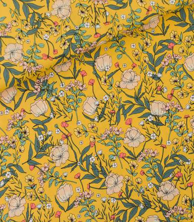 Tissu viscose Summer Flowers - Yellow