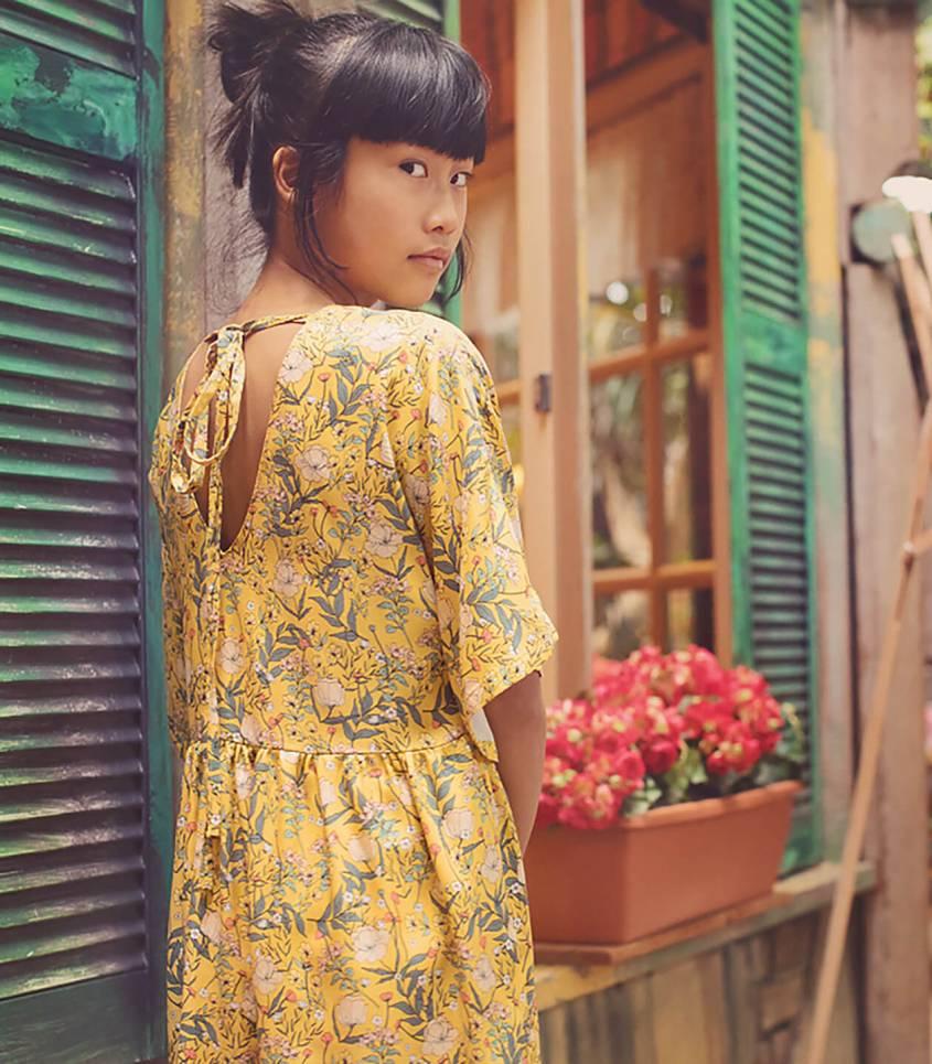Tissu viscose Summer Flowers - Jaune d'oeuf