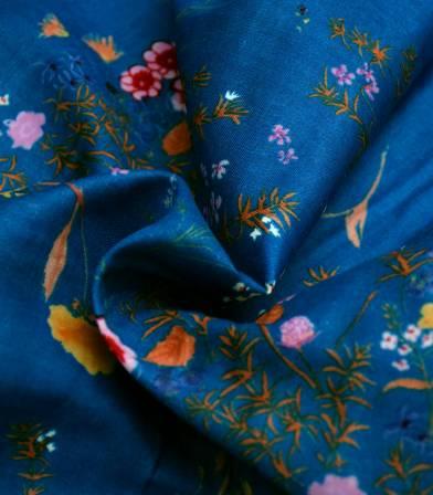 Tissu japonais Nani Iro - Jardin blue