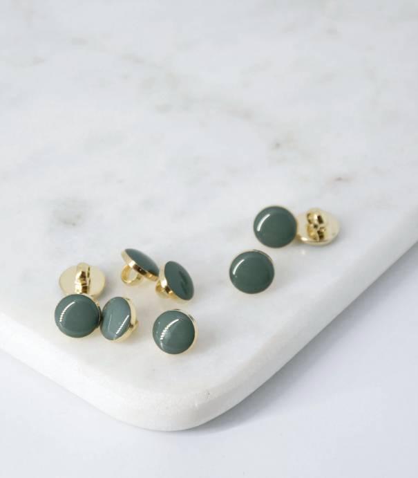 Boutons à queue or/vert lichen - 10mm