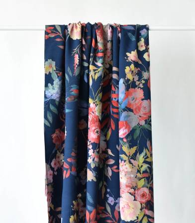 Tissu viscose Flower Multico - Navy