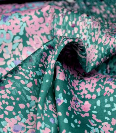 Tissu japonais Nani Iro - Birds eye pink mint on green