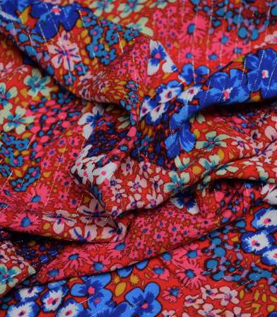 Tissu viscose Flower Power - Red Pink