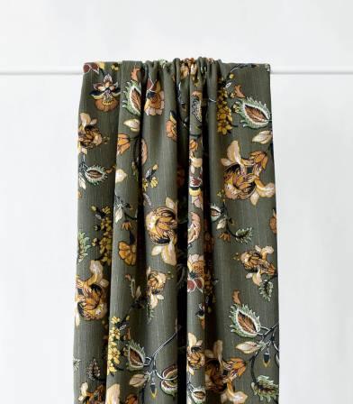 Tissu viscose crinkle - Cachemire kaki