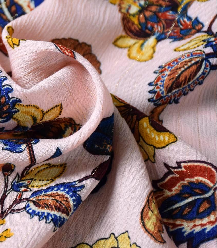 Tissu viscose crinkle - Cachemire Nude