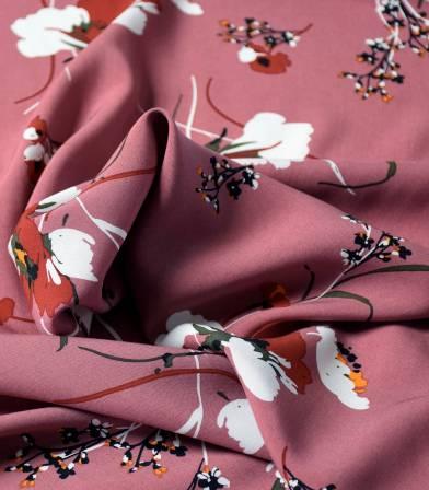Tissu viscose Fleurs des champs - Dusty Pink