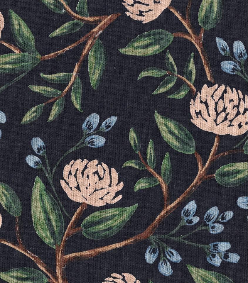 Tissu Canvas Peonies - Blue