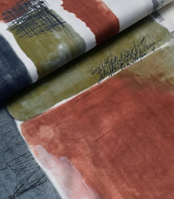 Tissu japonais Nani Iro - Chant & Poesie - kaki brique anthracite