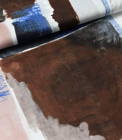 Tissu japonais Nani Iro - Chant & Poesie - anthracite chocolat nude
