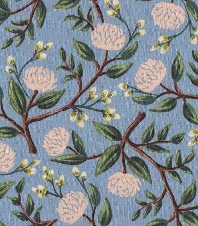 Tissu Peonies - Dusty Blue