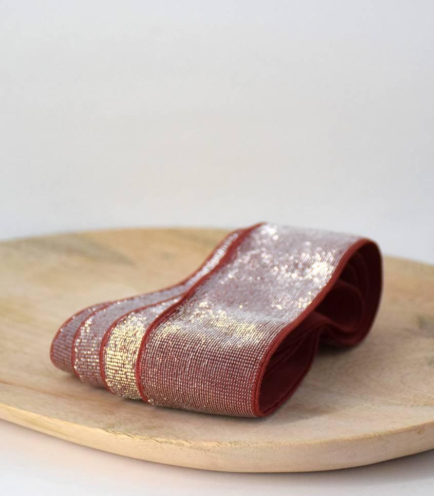 Elastique brique lurex argent 40 mm
