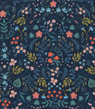 Tissu Garden Party - Navy metallic