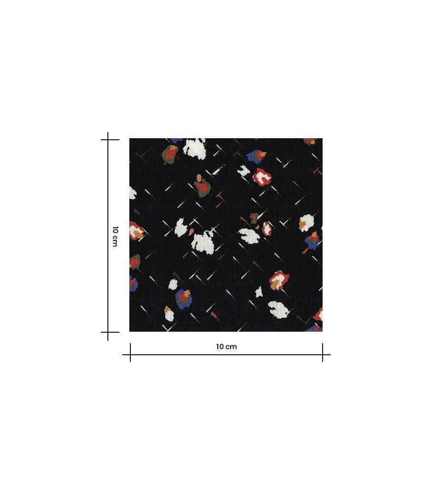 Tissu viscose fleurs Miranda - noir