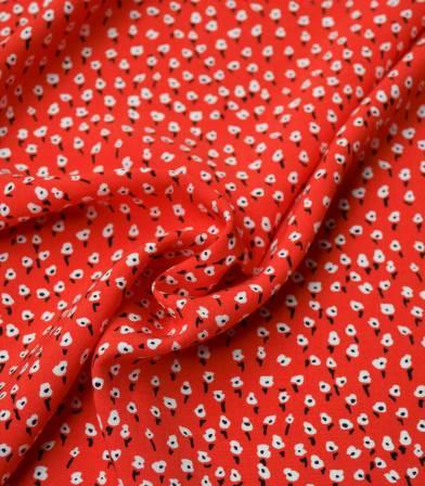 Tissu viscose semis de fleurs - vermillon