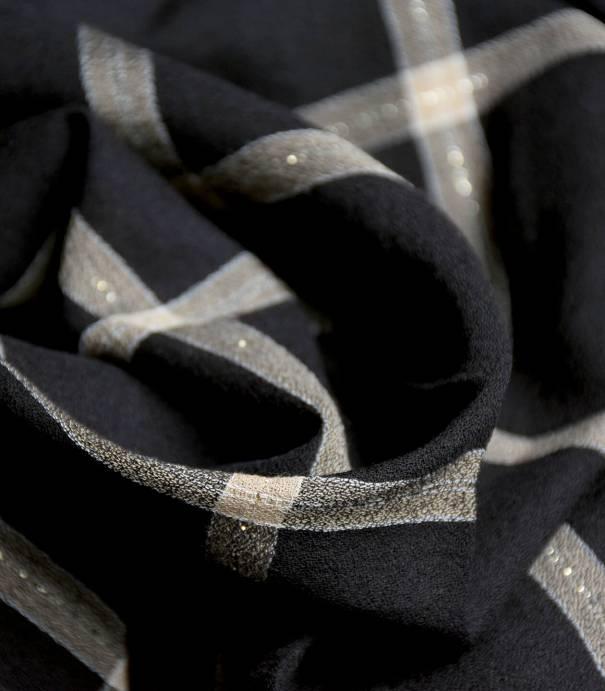 Tissu crêpe viscose carreaux Noir