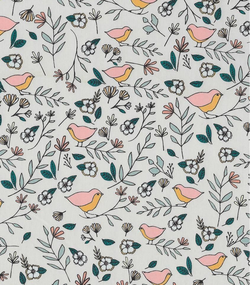 Tissu Love birds Celeste