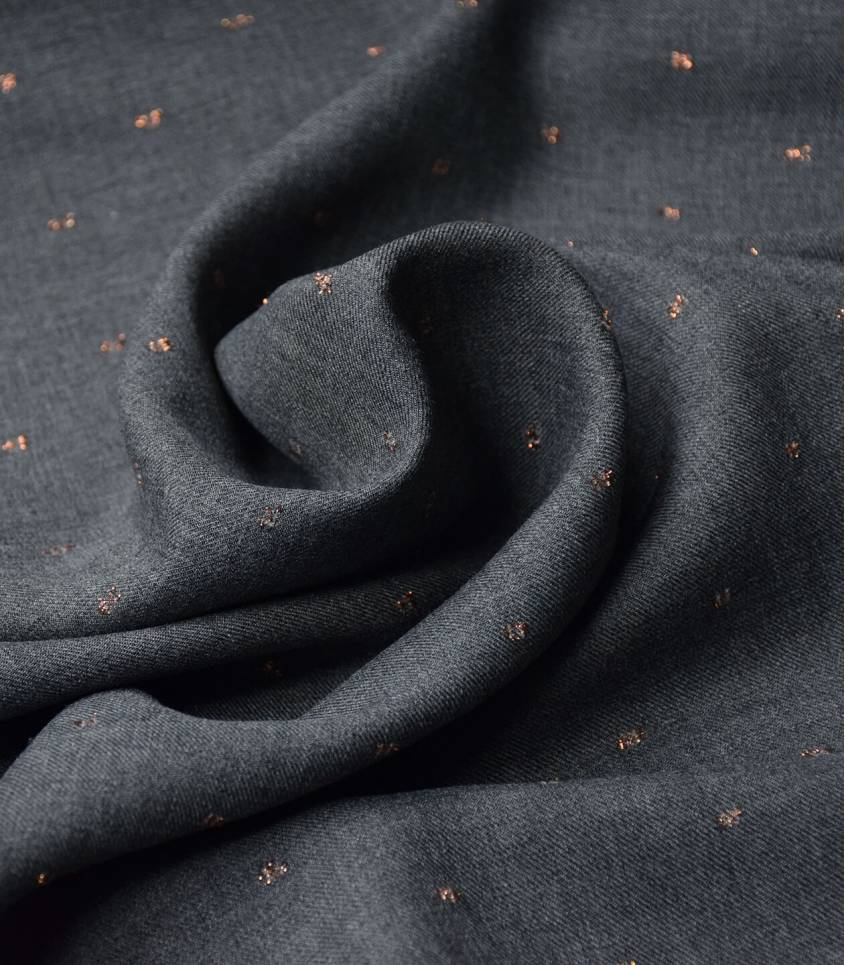 Tissu twill viscose - Metalic Dobby - Grey