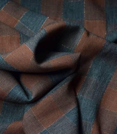 Tissu twill viscose - Metalic Check - Brown