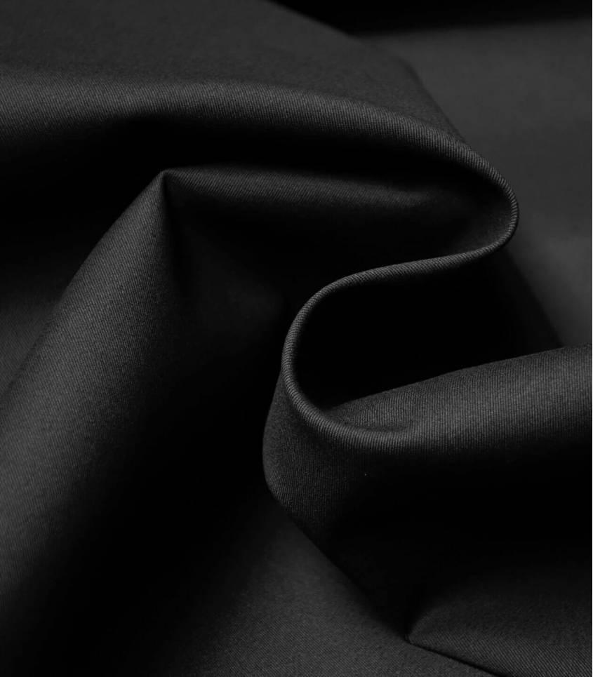 Tissu gabardine fine stretch - Noir