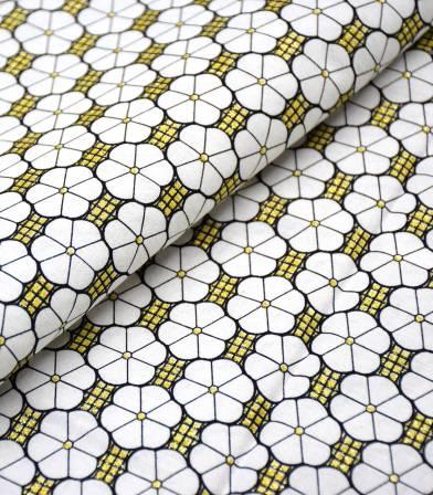 Tissu wax - Little flowers - White gold