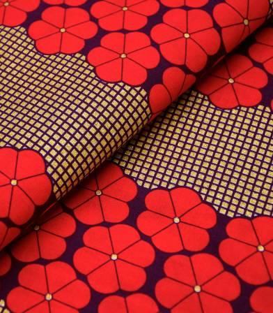 Tissu wax - Big flowers - Red gold