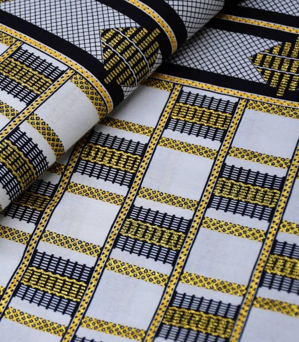 Tissu wax - Grid - Black gold
