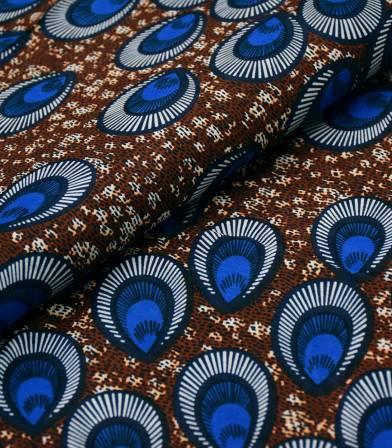 Tissu wax - Shell - Brown blue