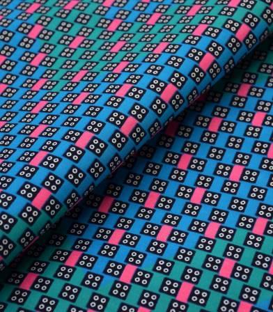 Tissu wax - Domino - Pink blue