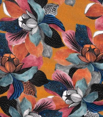 Tissu jersey viscose - Sketch flowers Safran