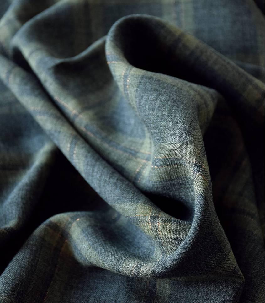 Tissu twill viscose - Metalic Check Kaki grey gold