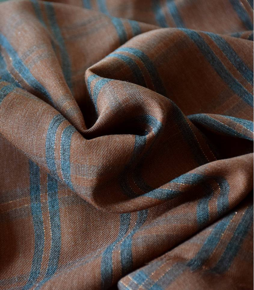Tissu twill viscose - Metalic Check Terra grey gold