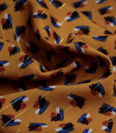 Tissu viscose Paint lurex  - Mustard