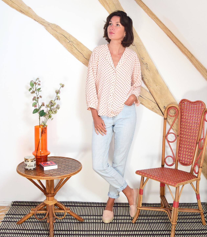 Box Ma blouse Sandalette - Pois nude/églantine